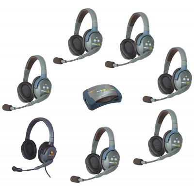 Eartec UltraLite System w/ Double Headsets (7-User) HUB 7-DMXD
