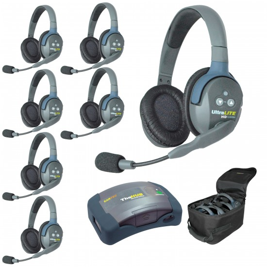 Eartec UltraLite System w/ Double Headsets (7-User) HUB7D